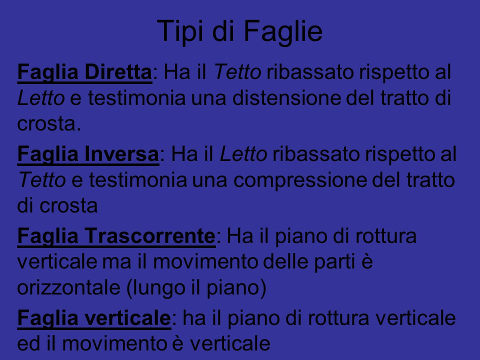Tipi di Faglie Faglia Diretta: Ha il Tetto ribassato rispetto al Letto e testimonia una distensione del tratto di crosta.
