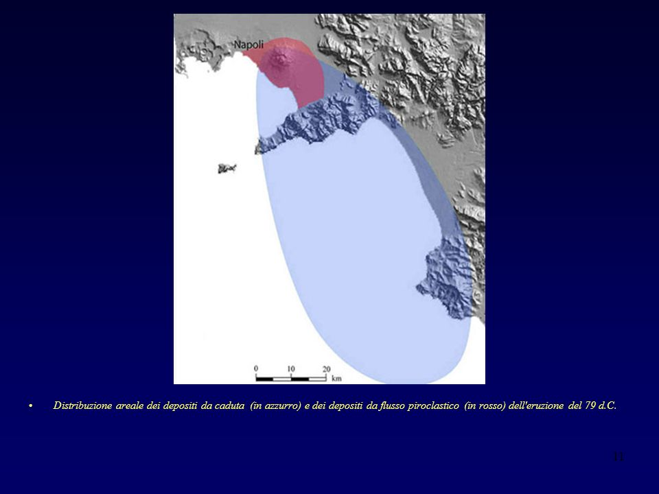 Distribuzione areale dei depositi da caduta (in azzurro) e dei depositi da flusso piroclastico (in rosso) dell eruzione del 79 d.C.