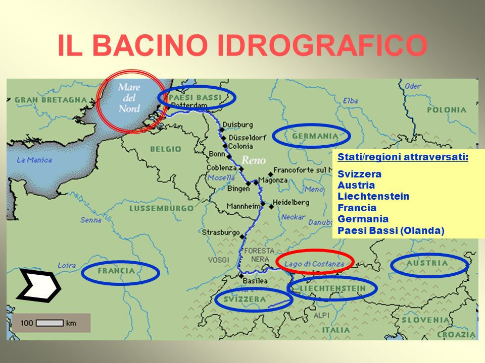 IL BACINO IDROGRAFICO Stati/regioni attraversati: