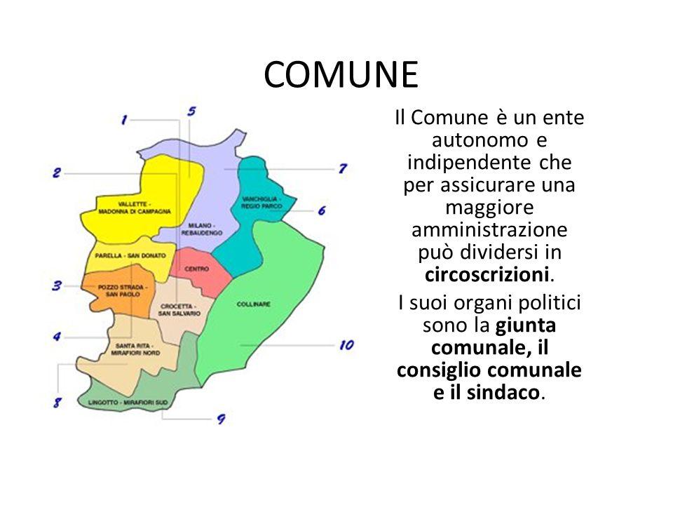 COMUNE Il Comune è un ente autonomo e indipendente che per assicurare una maggiore amministrazione può dividersi in circoscrizioni.