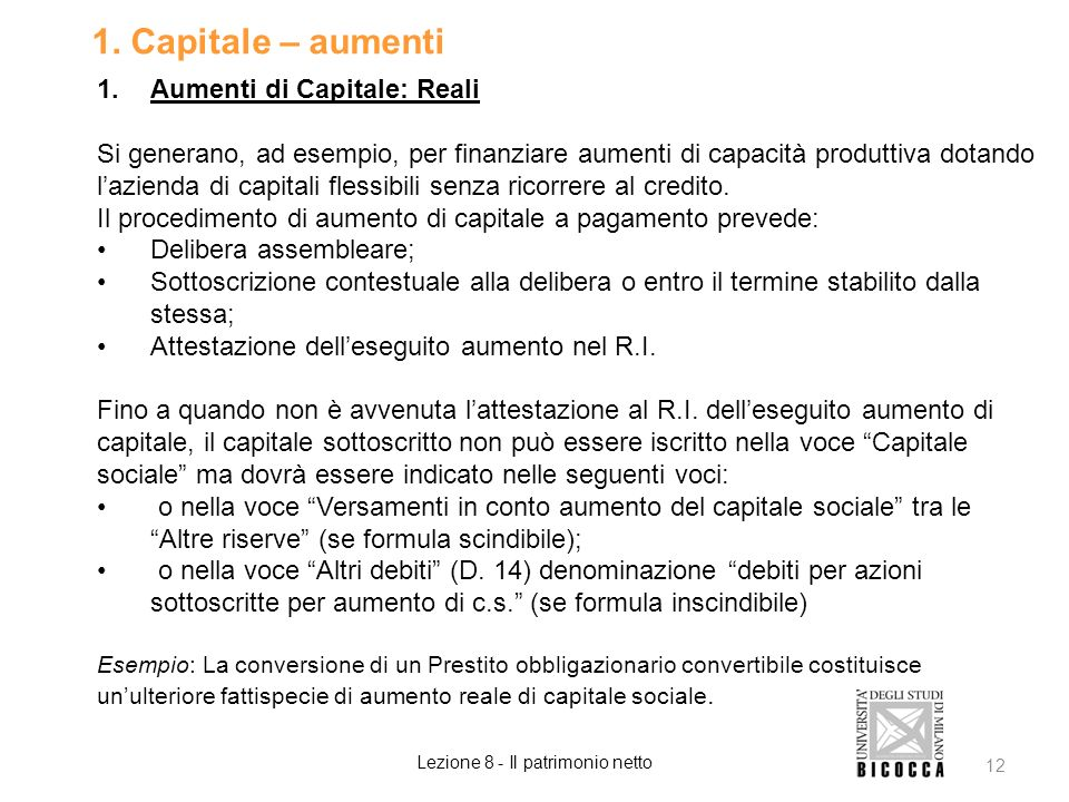 Lezione 8 - Il patrimonio netto