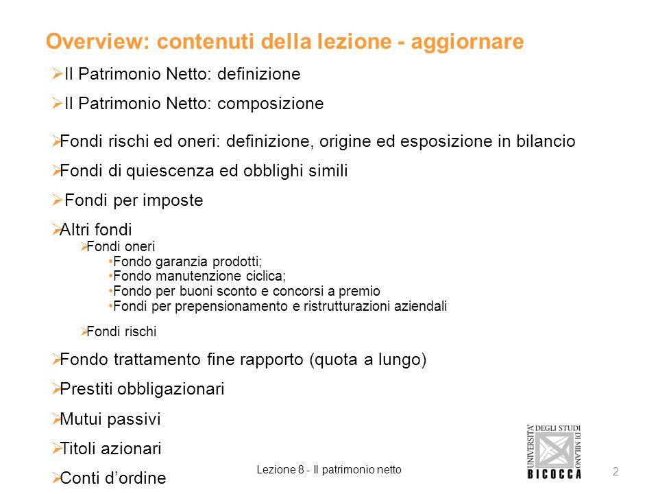 Overview: contenuti della lezione - aggiornare