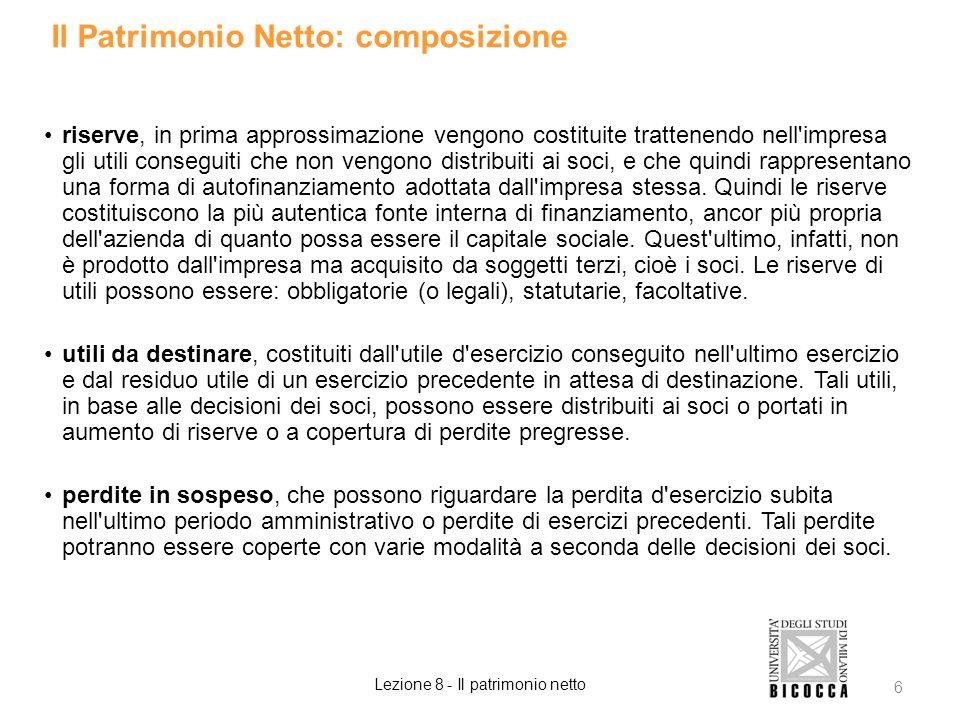 Il Patrimonio Netto: composizione