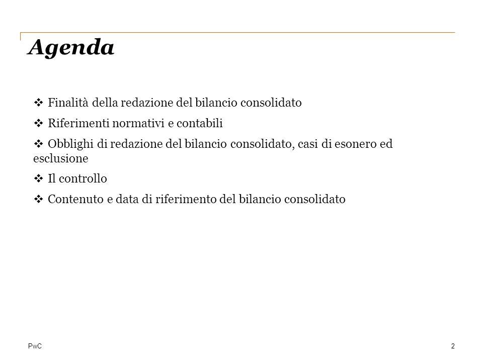 Agenda Finalità della redazione del bilancio consolidato