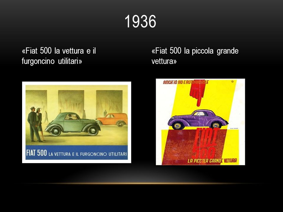 1936 «Fiat 500 la vettura e il furgoncino utilitari»