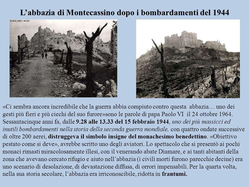 L'abbazia di Montecassino dopo i bombardamenti del 1944