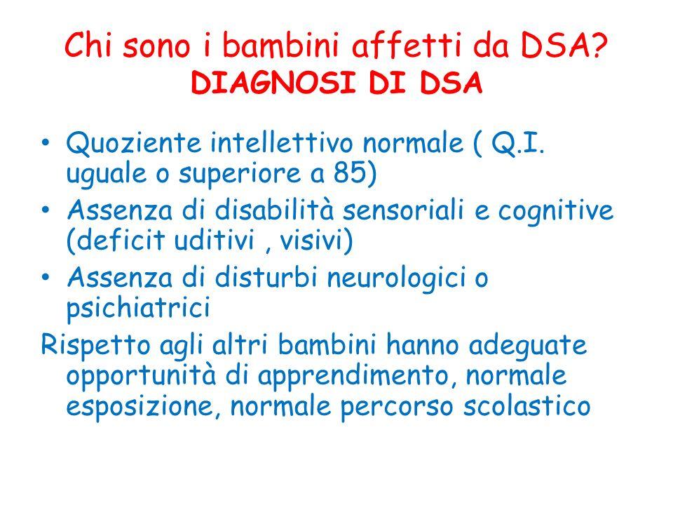 Chi sono i bambini affetti da DSA DIAGNOSI DI DSA