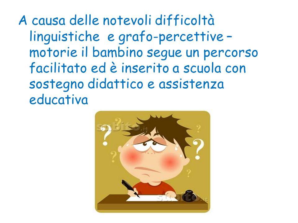 A causa delle notevoli difficoltà linguistiche e grafo-percettive – motorie il bambino segue un percorso facilitato ed è inserito a scuola con sostegno didattico e assistenza educativa