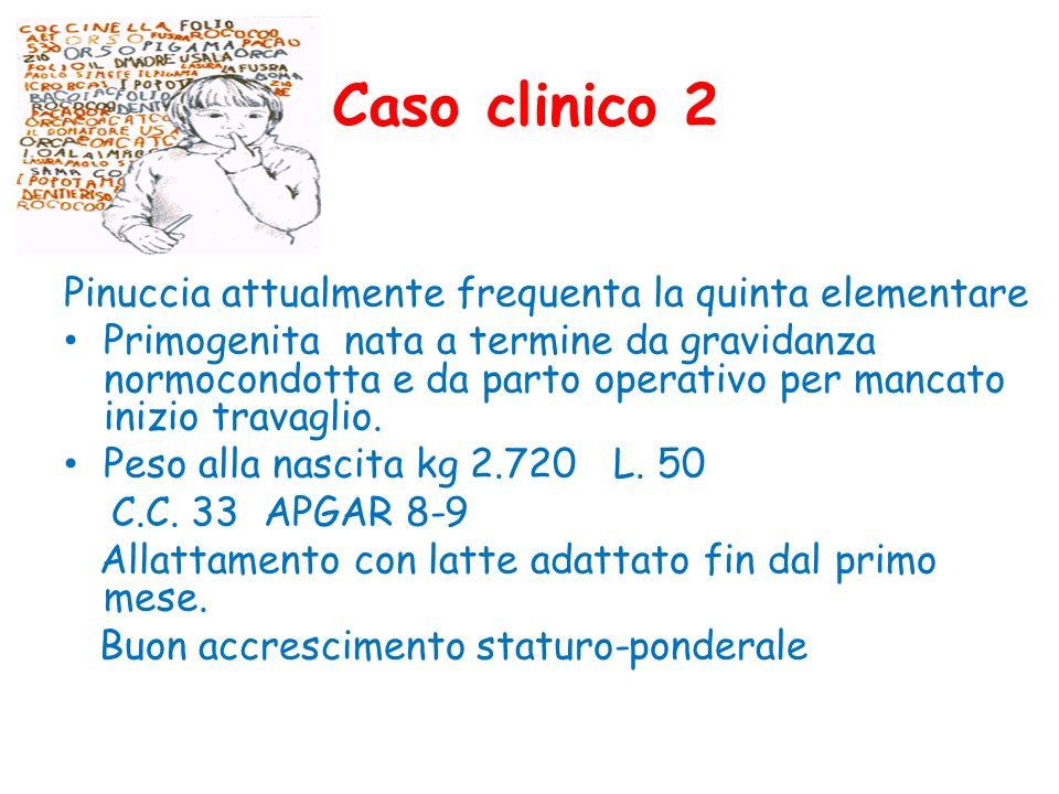 Caso clinico 2 Pinuccia attualmente frequenta la quinta elementare