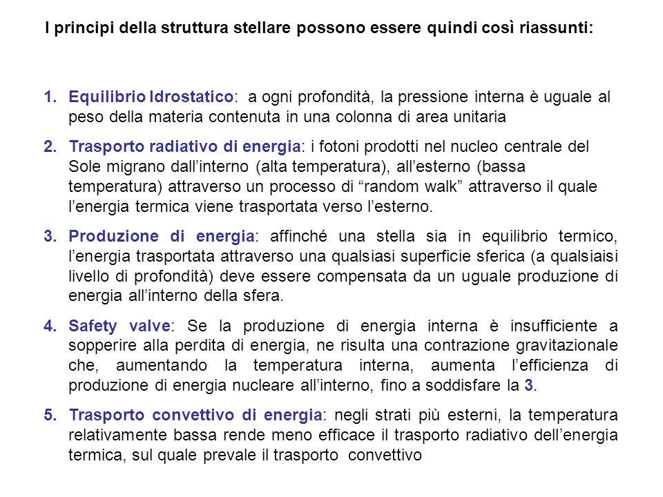 I principi della struttura stellare possono essere quindi così riassunti: