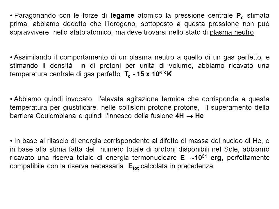 Paragonando con le forze di legame atomico la pressione centrale Pc stimata prima, abbiamo dedotto che l'Idrogeno, sottoposto a questa pressione non può sopravvivere nello stato atomico, ma deve trovarsi nello stato di plasma neutro