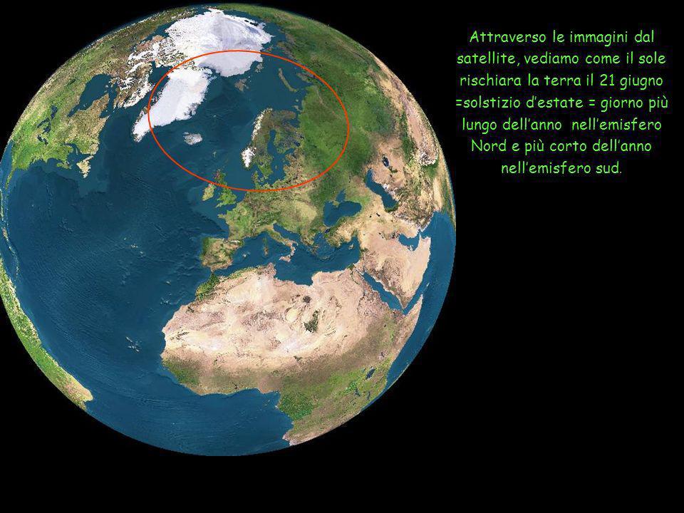 Attraverso le immagini dal satellite, vediamo come il sole rischiara la terra il 21 giugno =solstizio d'estate = giorno più lungo dell'anno nell'emisfero Nord e più corto dell'anno nell'emisfero sud.