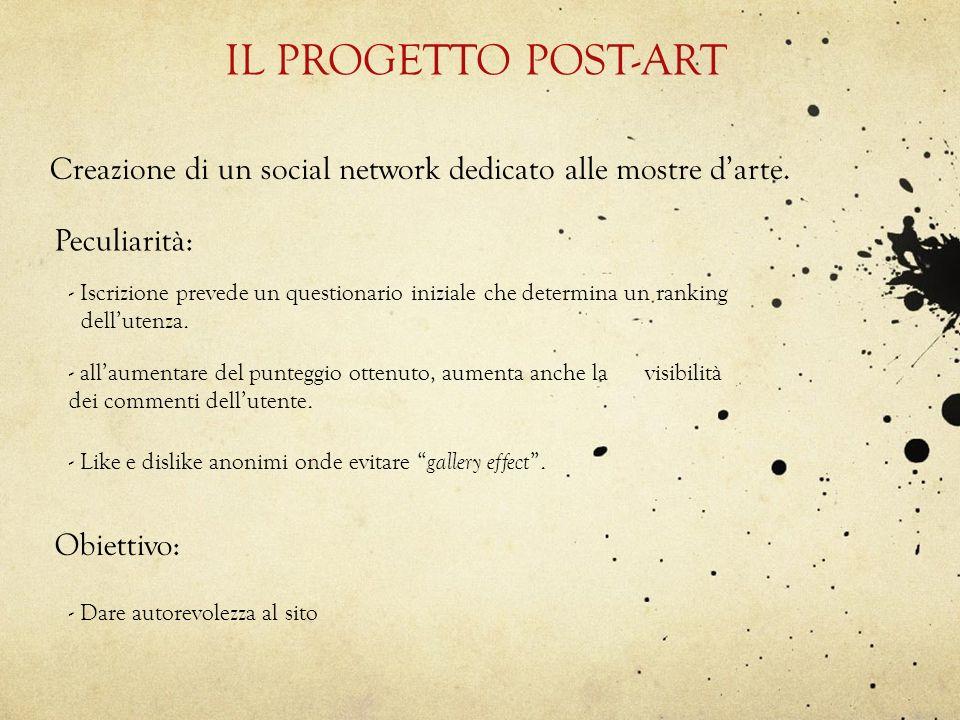 IL PROGETTO POST-ARTCreazione di un social network dedicato alle mostre d'arte. Peculiarità: