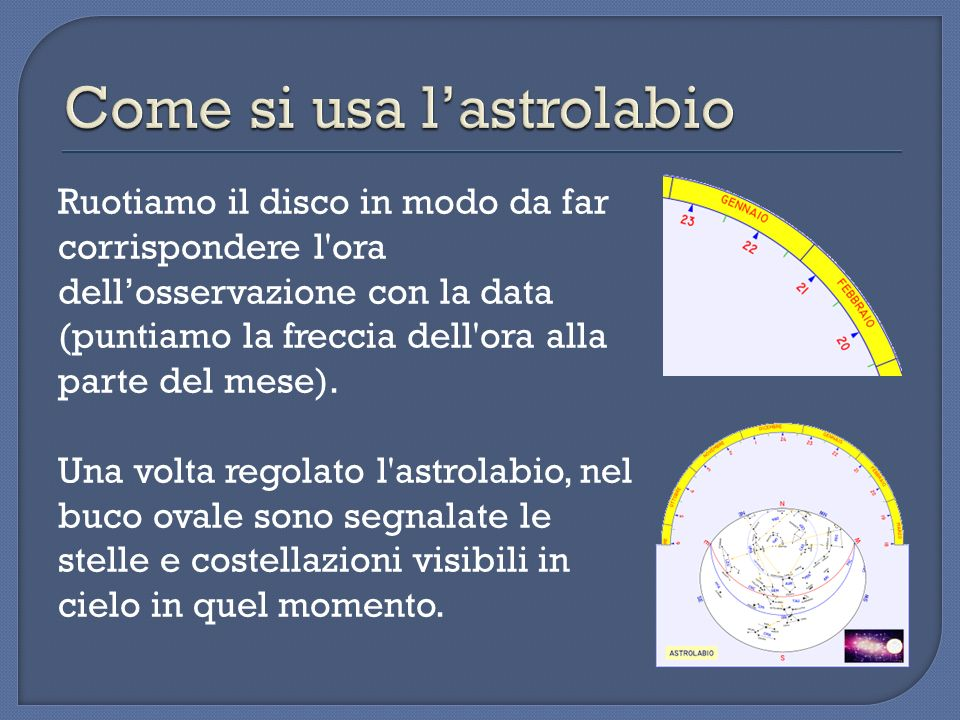 Come si usa l'astrolabio