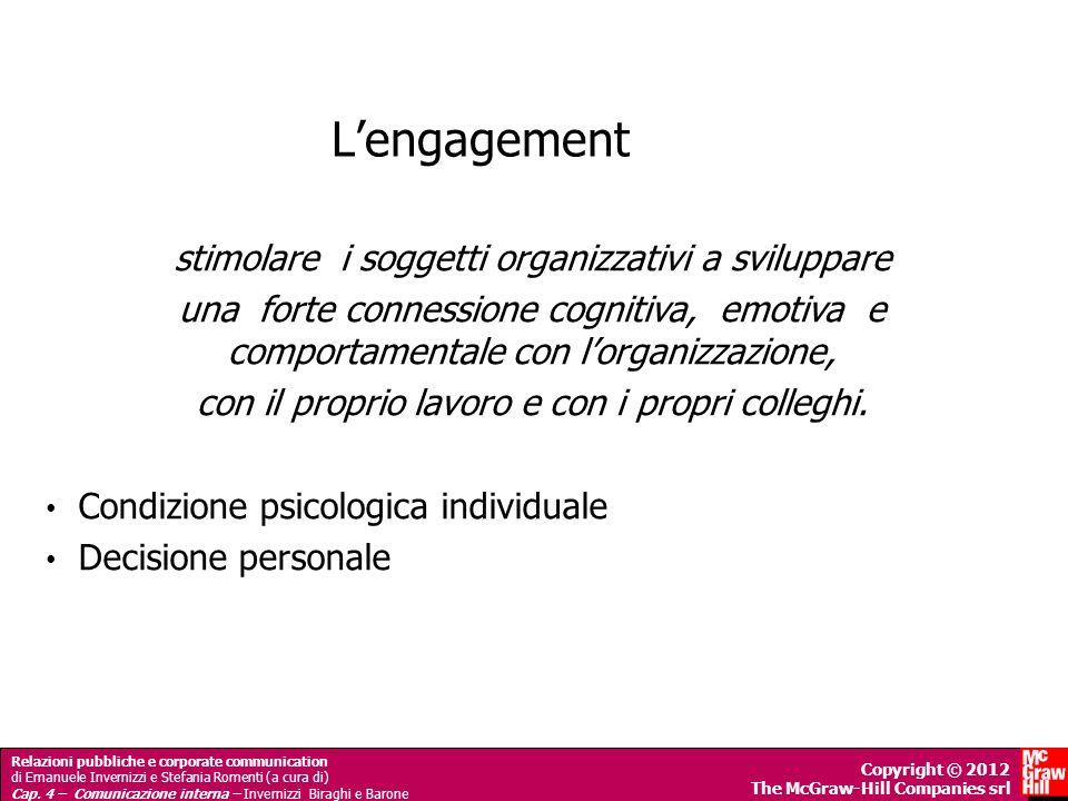 L'engagement stimolare i soggetti organizzativi a sviluppare
