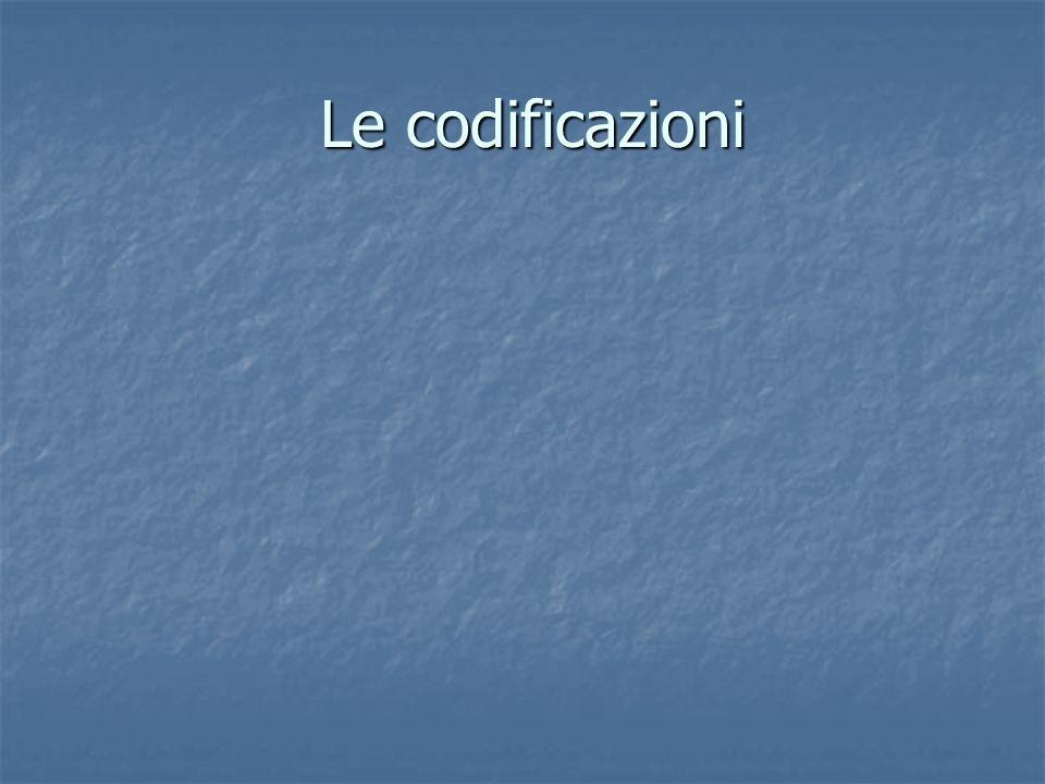 Le codificazioni