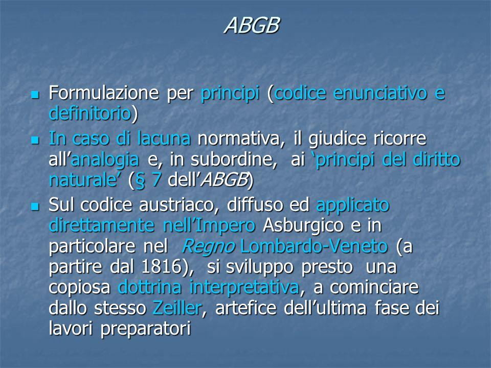 ABGB Formulazione per principi (codice enunciativo e definitorio)
