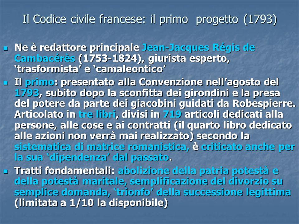 Il Codice civile francese: il primo progetto (1793)