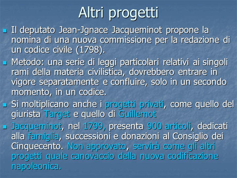 Altri progetti Il deputato Jean-Jgnace Jacqueminot propone la nomina di una nuova commissione per la redazione di un codice civile (1798).