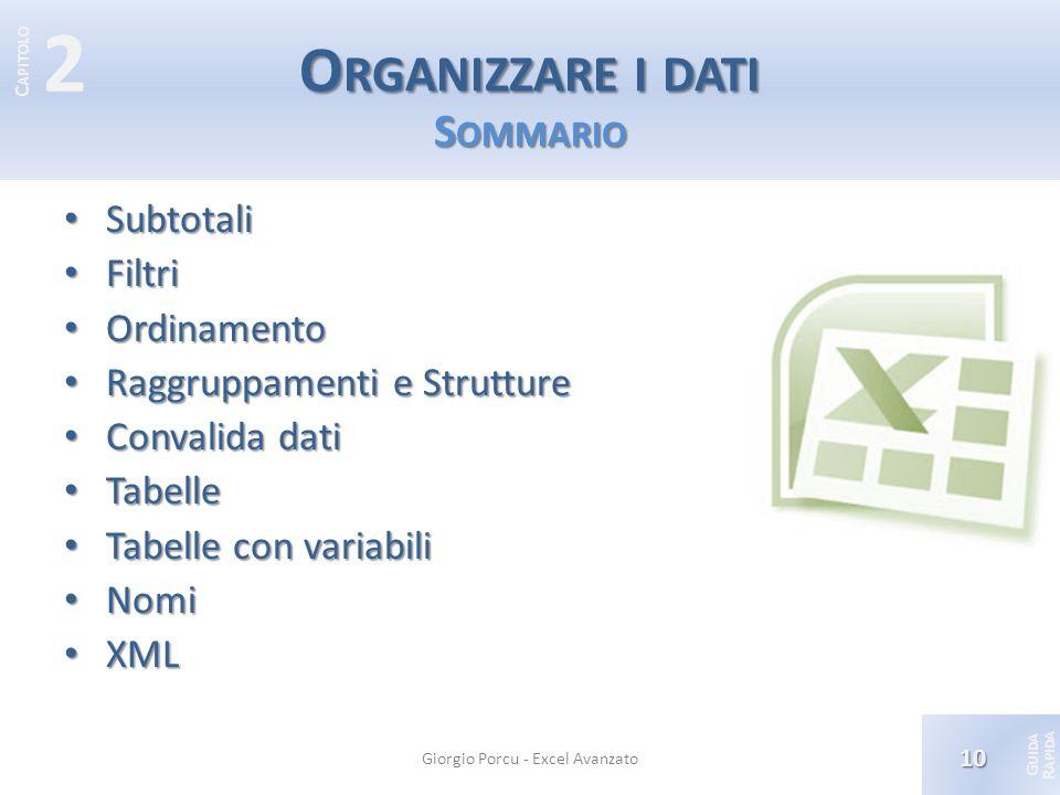 Organizzare i dati Sommario