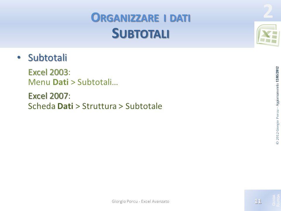 Organizzare i dati Subtotali