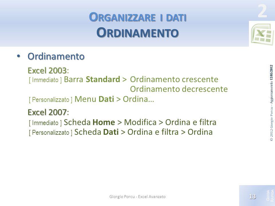 Organizzare i dati Ordinamento