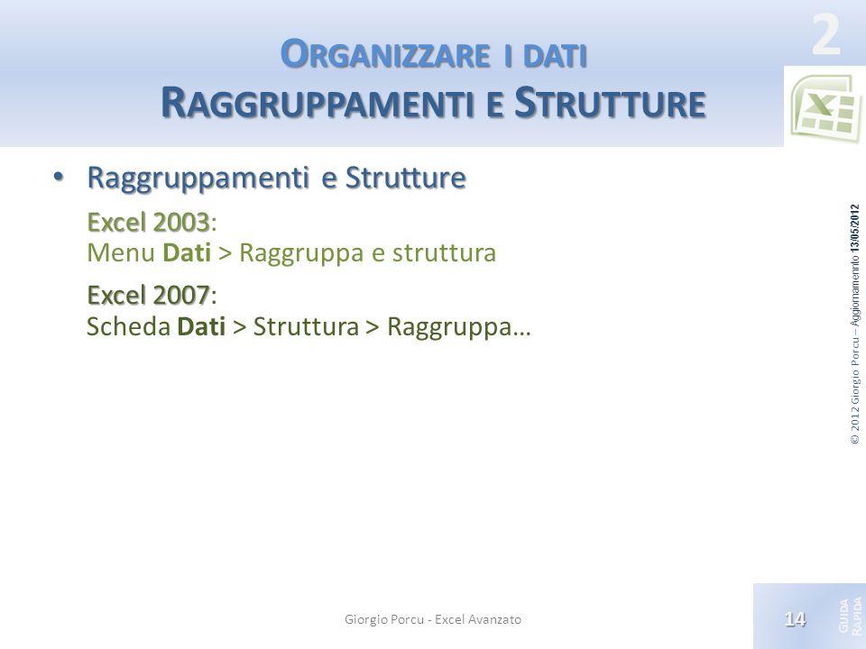 Organizzare i dati Raggruppamenti e Strutture