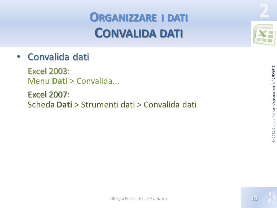Organizzare i dati Convalida dati