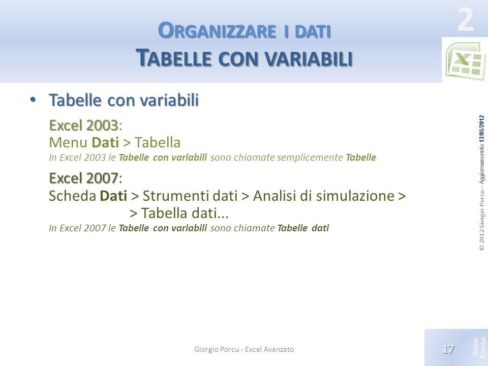 Organizzare i dati Tabelle con variabili
