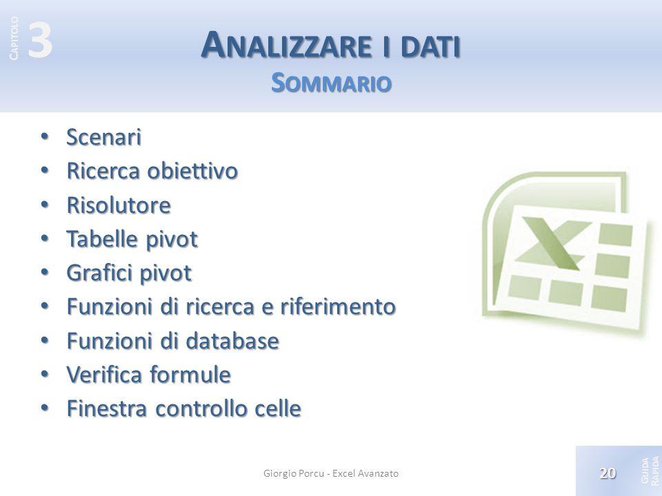 Analizzare i dati Sommario