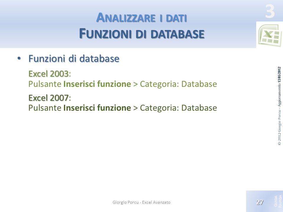 Analizzare i dati Funzioni di database