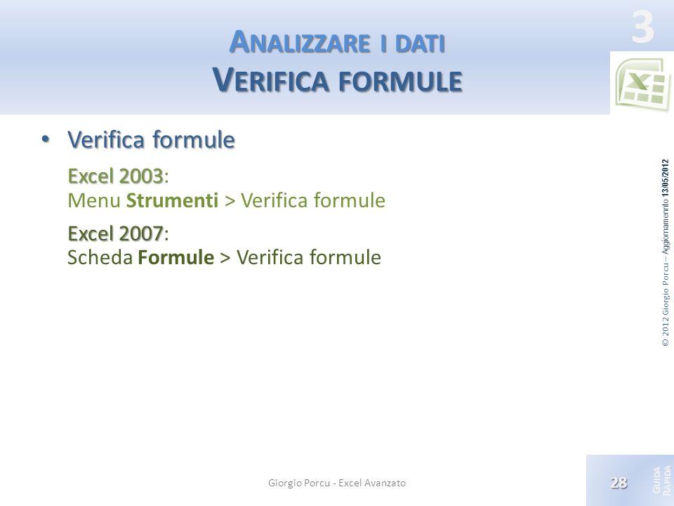 Analizzare i dati Verifica formule