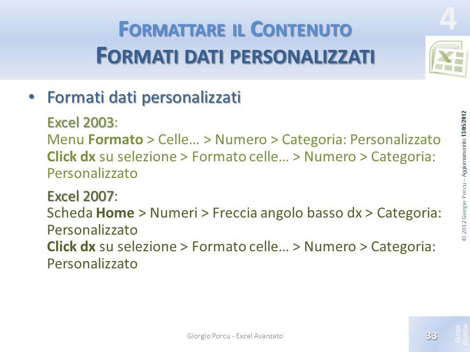 Formattare il Contenuto Formati dati personalizzati
