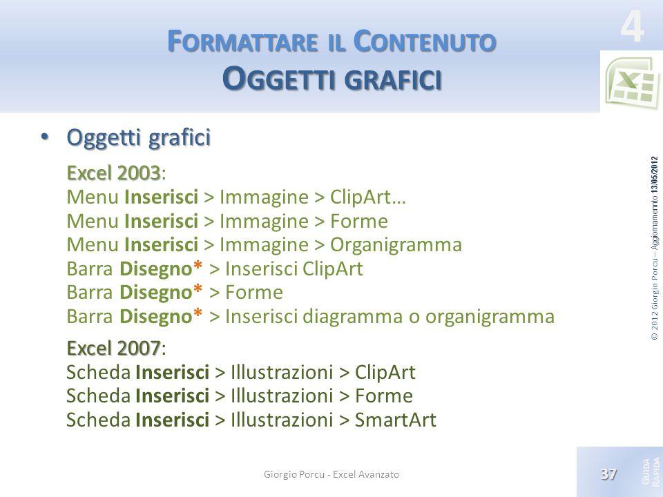 Formattare il Contenuto Oggetti grafici