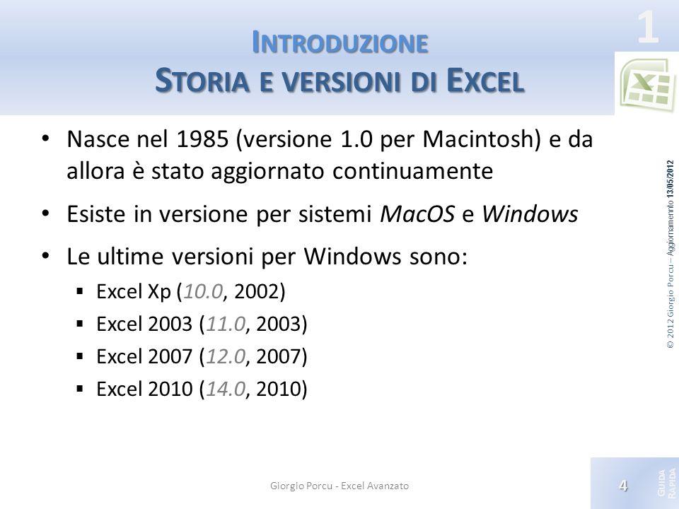 Introduzione Storia e versioni di Excel