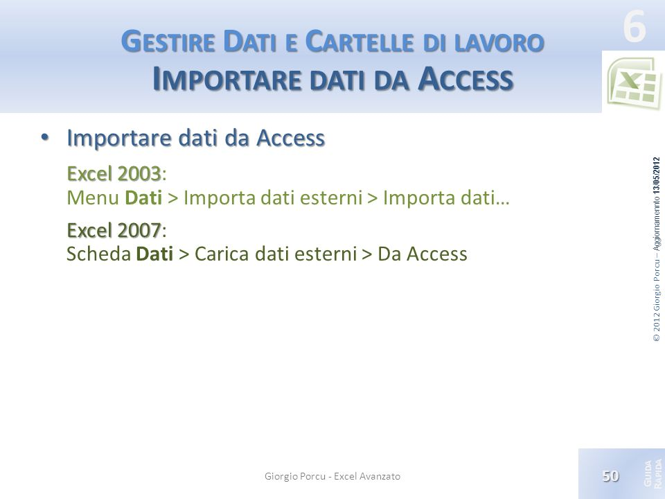 Gestire Dati e Cartelle di lavoro Importare dati da Access
