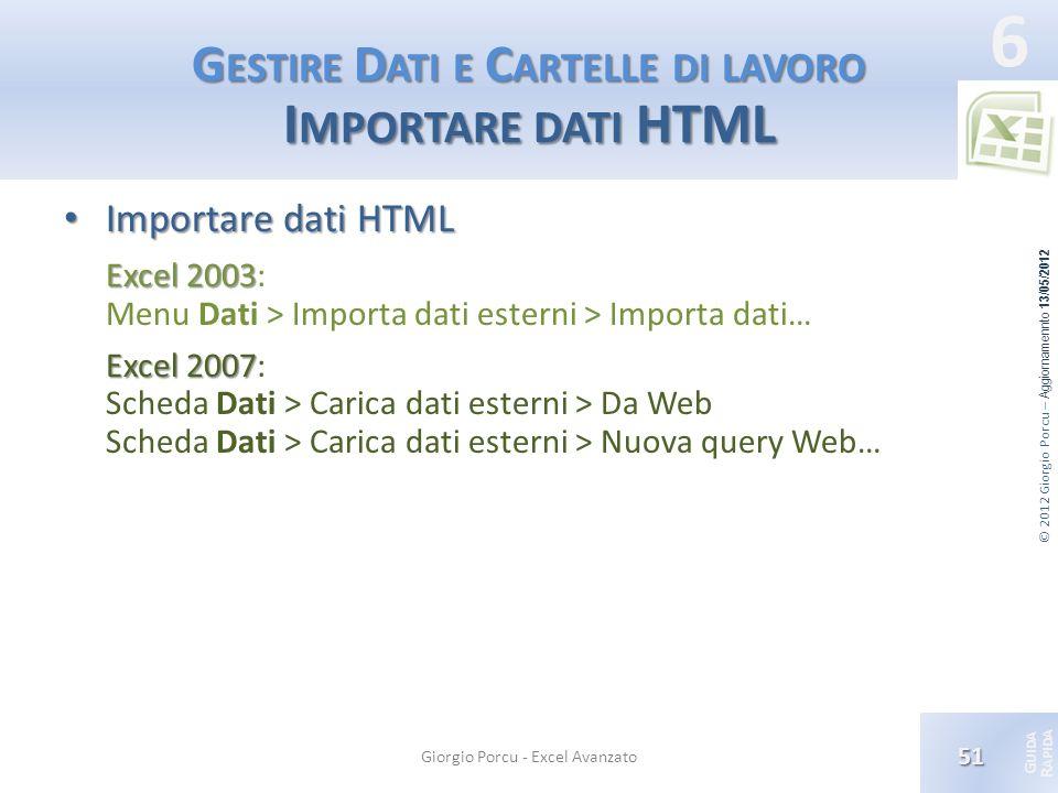 Gestire Dati e Cartelle di lavoro Importare dati HTML