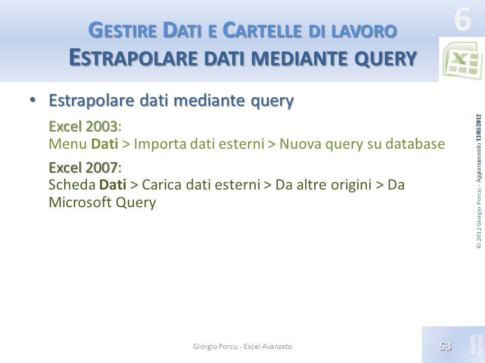Gestire Dati e Cartelle di lavoro Estrapolare dati mediante query