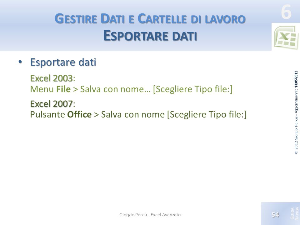 Gestire Dati e Cartelle di lavoro Esportare dati