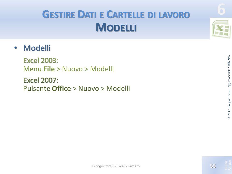 Gestire Dati e Cartelle di lavoro Modelli