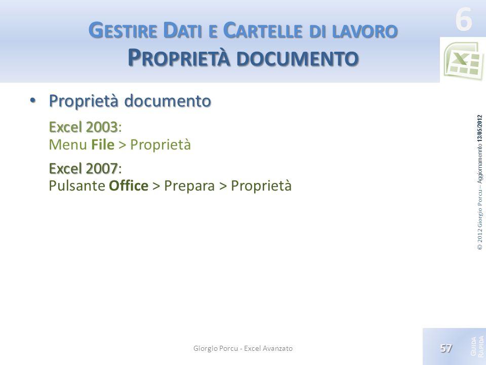 Gestire Dati e Cartelle di lavoro Proprietà documento