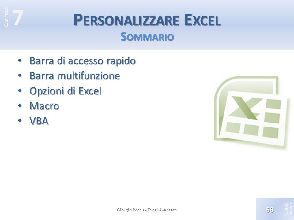 Personalizzare Excel Sommario