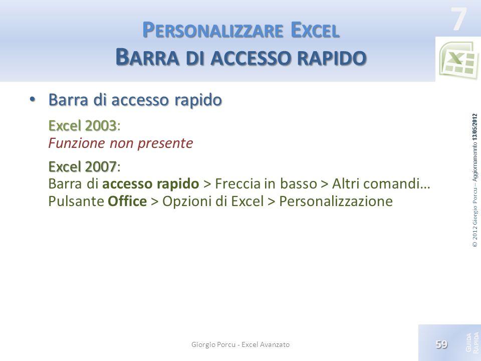 Personalizzare Excel Barra di accesso rapido