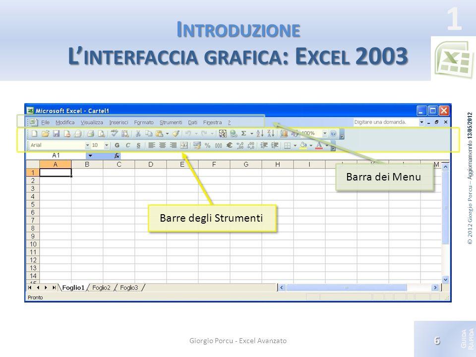 Introduzione L'interfaccia grafica: Excel 2003