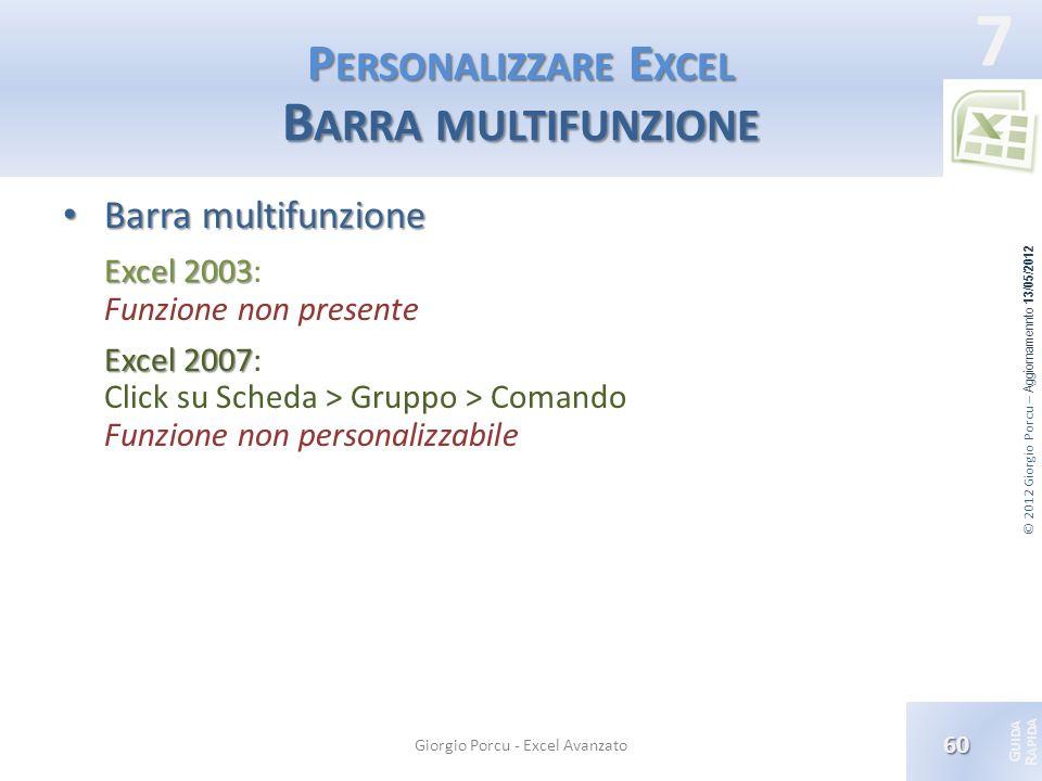 Personalizzare Excel Barra multifunzione