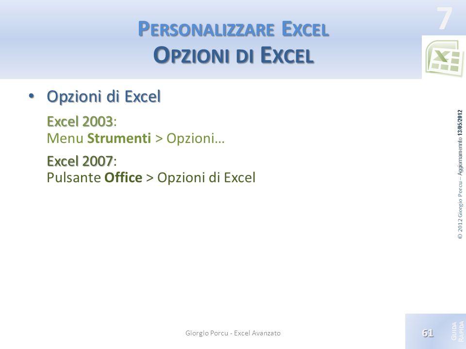 Personalizzare Excel Opzioni di Excel