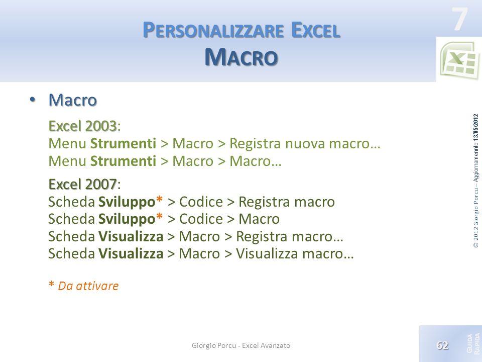 Personalizzare Excel Macro
