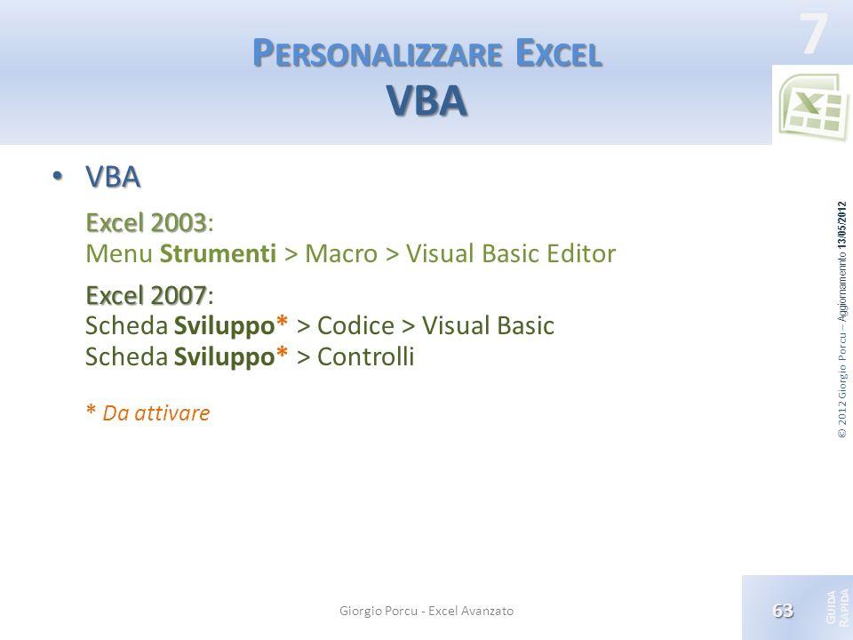 Personalizzare Excel VBA