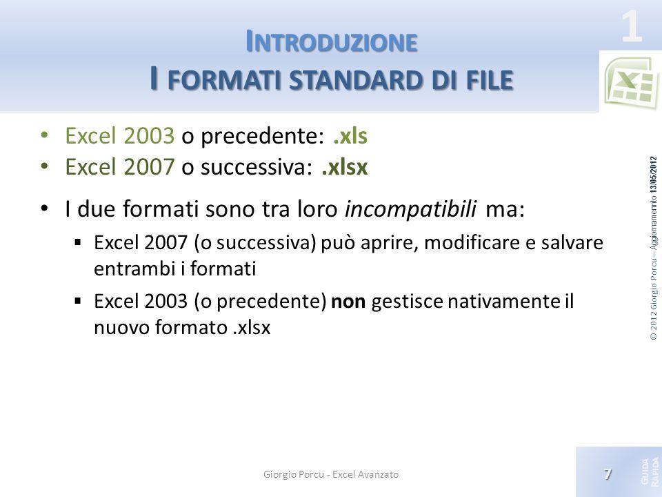 Introduzione I formati standard di file