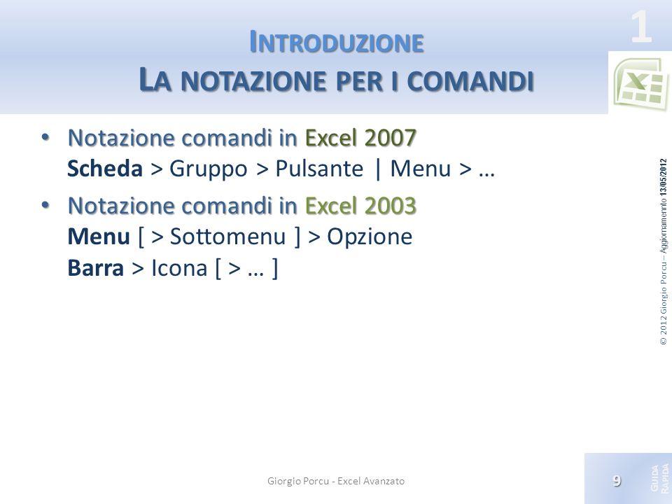 Introduzione La notazione per i comandi